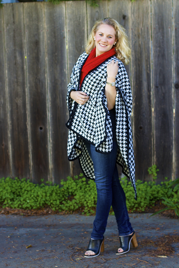 houndstooth poncho, sf blogger, fashion blogger, outfit inspiration, weekend look, sincerely jules tee, dream believe achieve