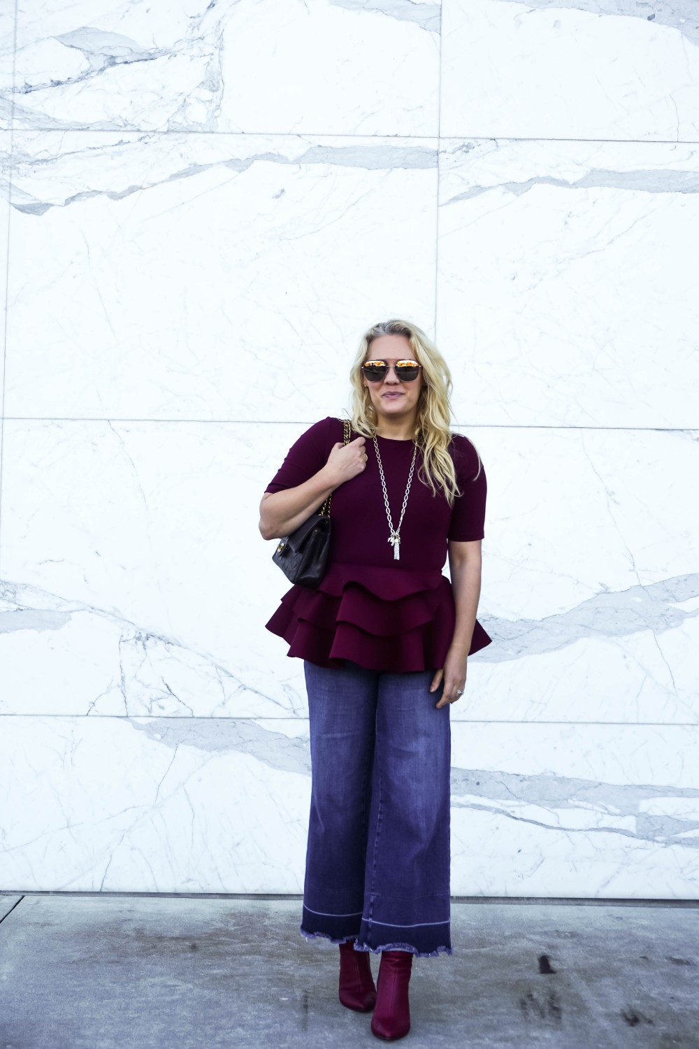 Wearing Wide Leg Denim Pants and a Peplum Top | Petite Styling Tips on How To Wear Culottes and Wide-Leg Pants
