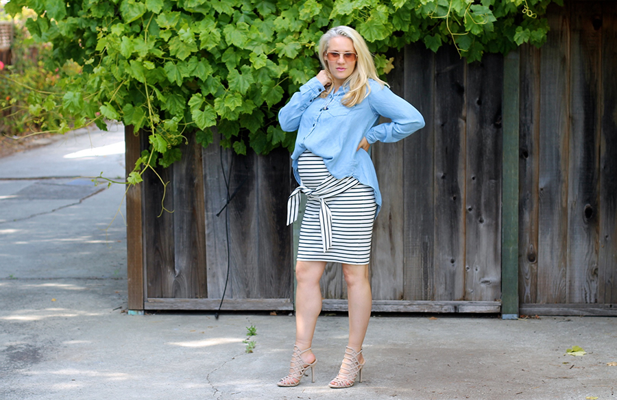 Kingdom & State-Tie Front Skirt-Maternity Style-Pregnancy Style-Chambray Top-Target Style-Have Need Want 4