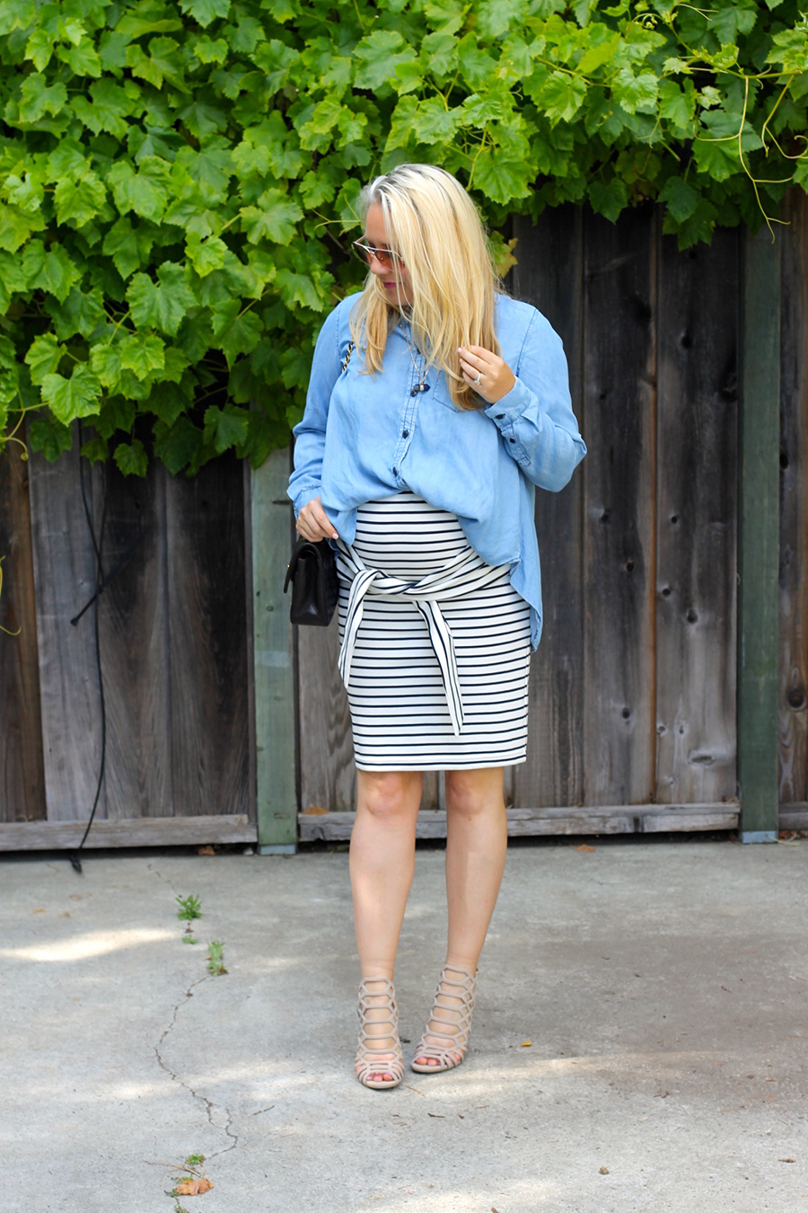 Kingdom & State-Tie Front Skirt-Maternity Style-Pregnancy Style-Chambray Top-Target Style-Have Need Want