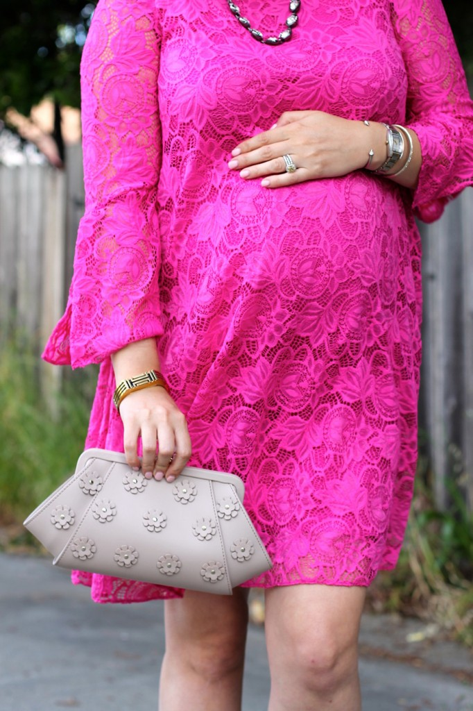 Lace Bell Sleeves Dress-Zac Posen-Floral Applique clutch-Maternity Style-Badgley Mischka Dress-Pregnant Blogger-Have Need Want 7