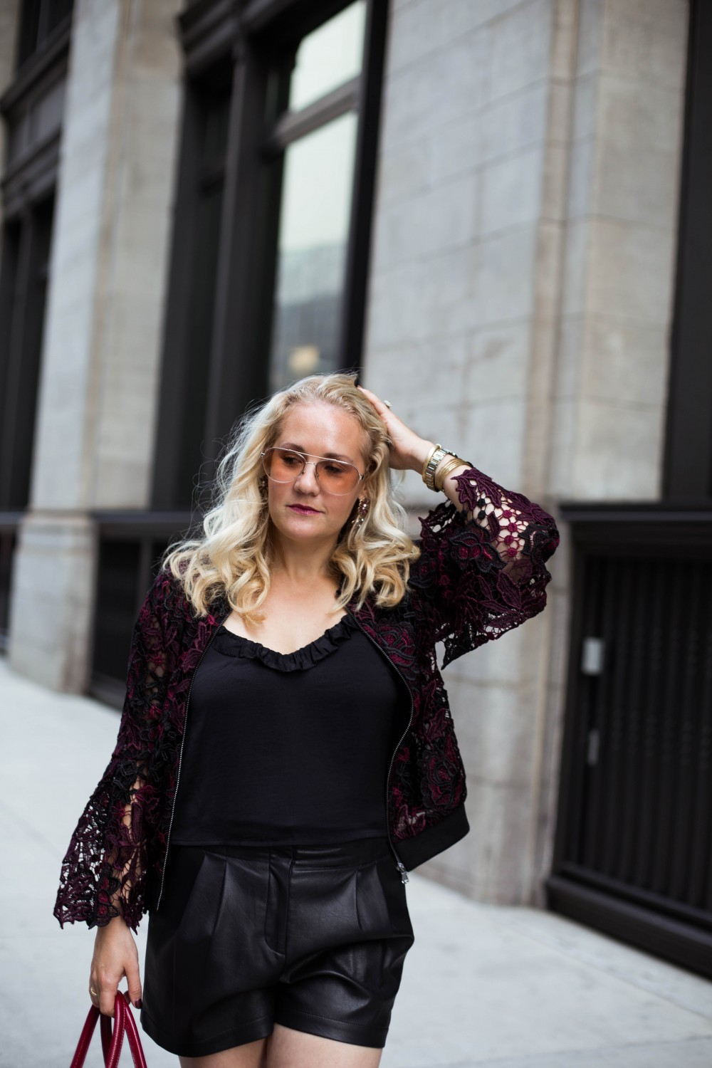 Lace Bomber Jacket-Kobi Halperin for Macy's-NYFW Street Style-NYFW SS18-Outfit Inspiration-Faux Leather Shorts-BCBG-Fall Fashion-Donald Pliner Booties-Geene Boots from Donald J Pliner-Have Need Want 11