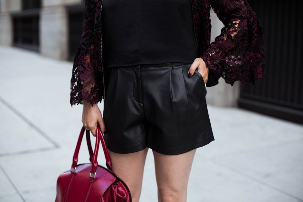 Lace Bomber Jacket-Kobi Halperin for Macy's-NYFW Street Style-NYFW SS18-Outfit Inspiration-Faux Leather Shorts-BCBG-Fall Fashion-Donald Pliner Booties-Geene Boots from Donald J Pliner-Have Need Want 6