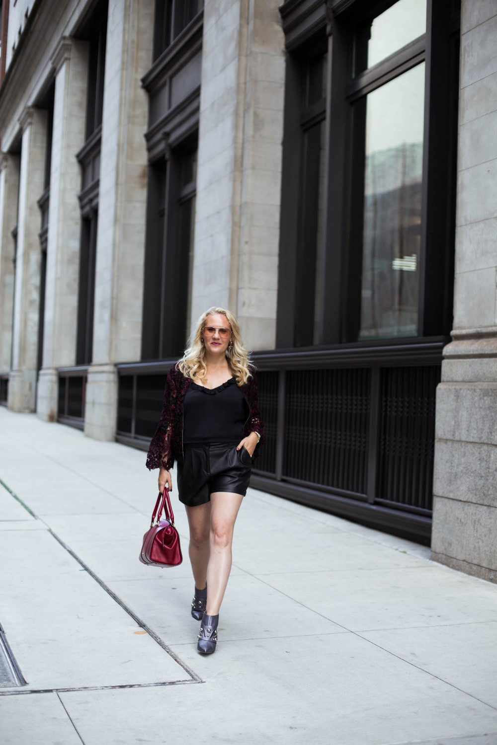 Lace Bomber Jacket-Kobi Halperin for Macy's-NYFW Street Style-NYFW SS18-Outfit Inspiration-Faux Leather Shorts-BCBG-Fall Fashion-Donald Pliner Booties-Geene Boots from Donald J Pliner-Have Need Want 7