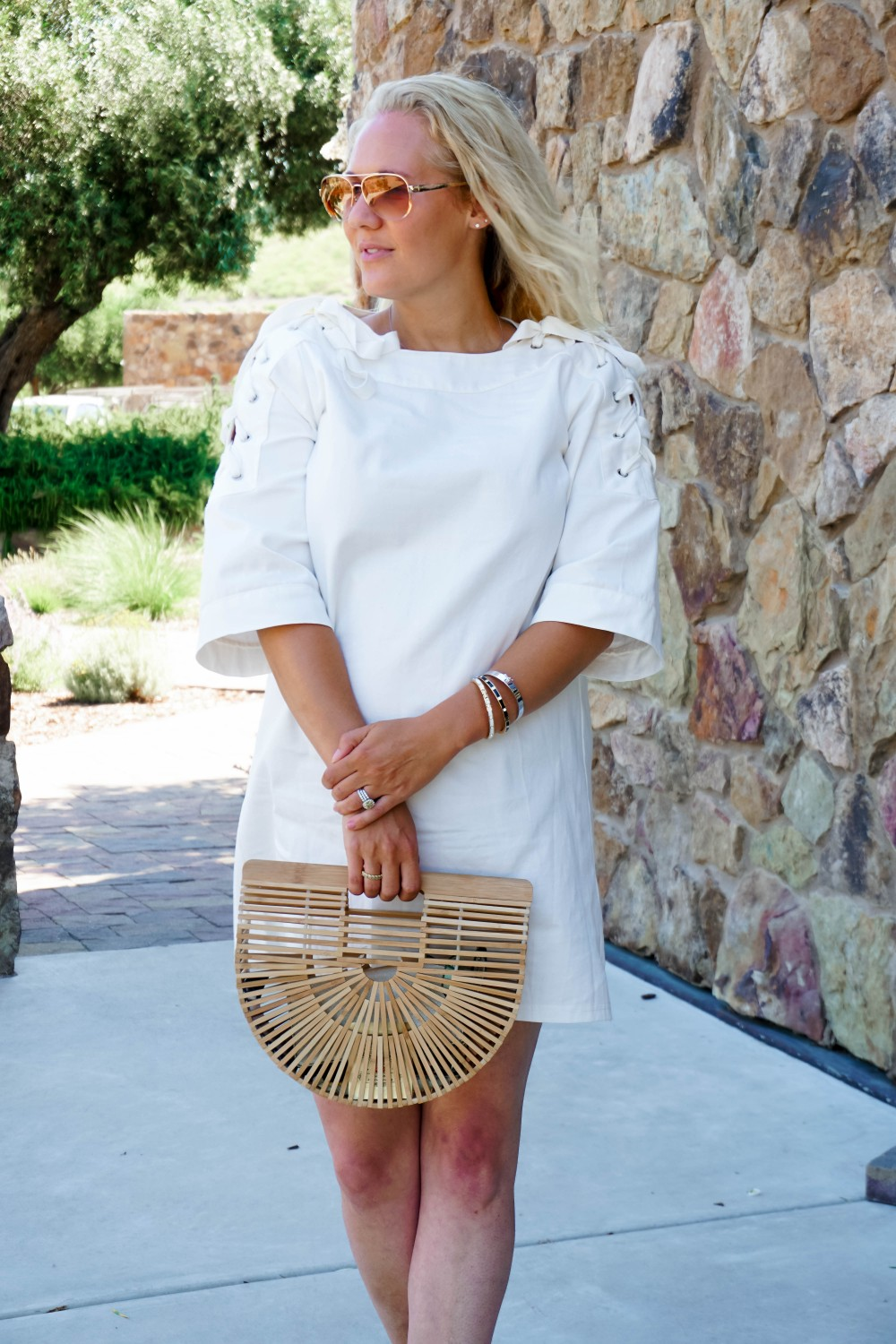 Lace-Up White Denim Dress-JOA Denim Dress-Summer Style-Bijou on the Park-Have Need Want-Outfit Inspiration-Mom Style 3