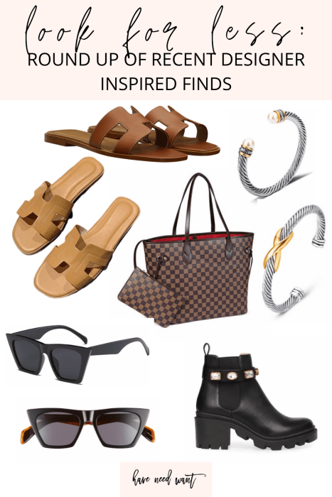 Look for Less a roundup of recent designer inspired finds on Have Need Want! Click on over to the post to check out all the affordable options that look designer! #lookforless #designerinspired