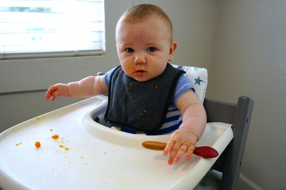 Mason's First Food Made Easier with Gathre Floor Mat-Avanchy Bamboo Spoon-Stokke High Chair-Gathre Mat-Have Need Want 6