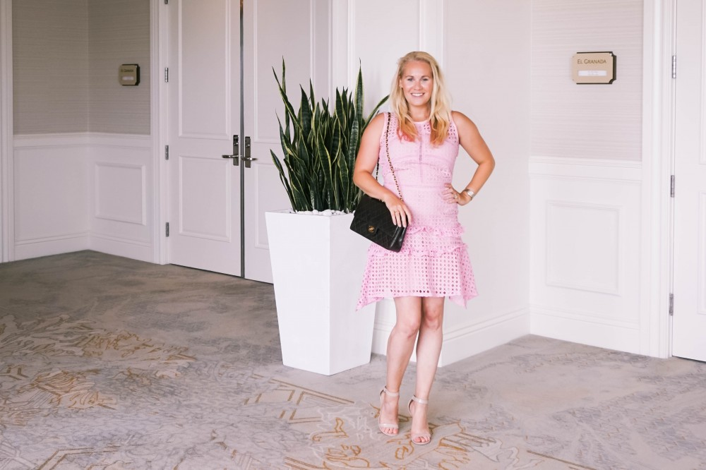 Pink Lace Dress-Borrowed by Design-Chanel Handbag-Self Portrait Pink Lace Dress Lookalike 6