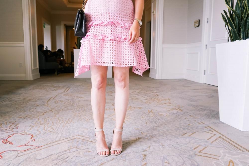 Pink Lace Dress-Borrowed by Design-Chanel Handbag-Self Portrait Pink Lace Dress Lookalike 9