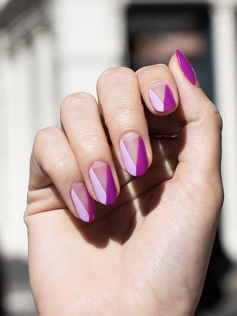 Purple angular tip manicure