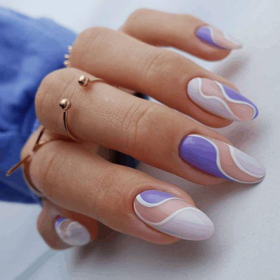 Purple wavy nail art