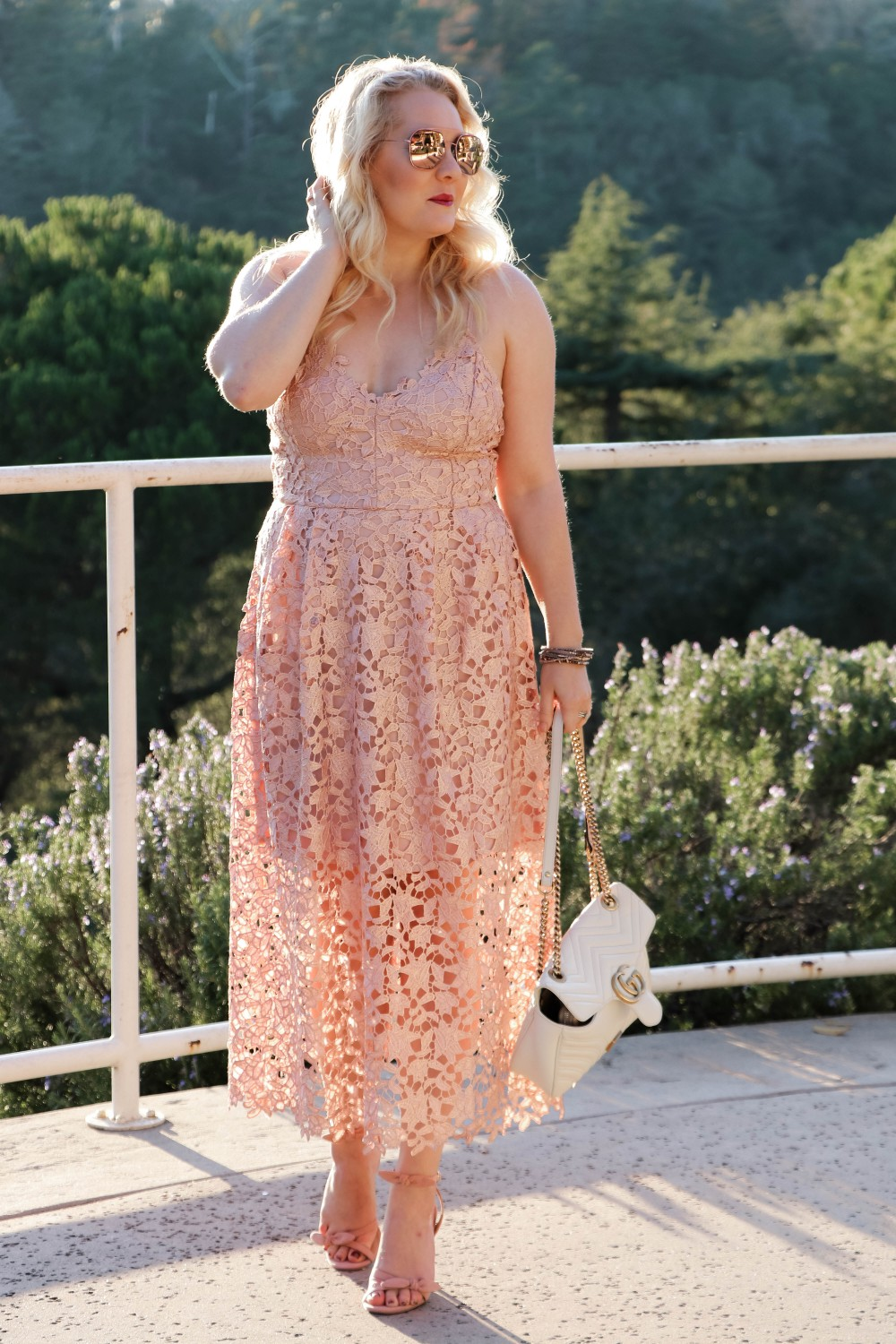 ASTR the Label Lace Midi Rose Gold Lace Dress for New Years Eve  | Have Need Want #NewYearsEveDress #NYEPartyDress #LaceMidiDress #ASTRtheLabel