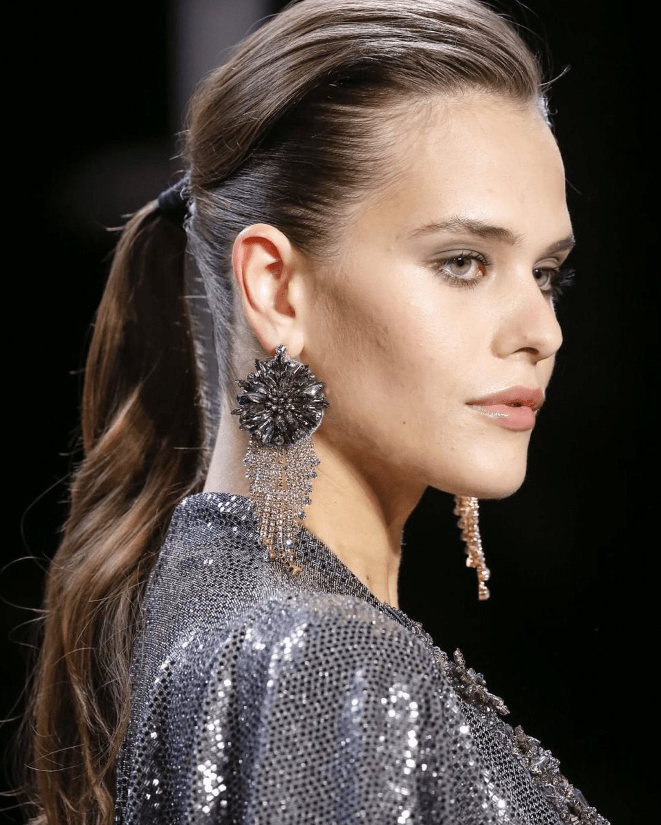 Close up of the hair and makeup from Badgley Mischka's FW19 runway show. Click on the photo to check out the post! #HaveNeedWant #NYFW #FW19 #BadgleyMischka