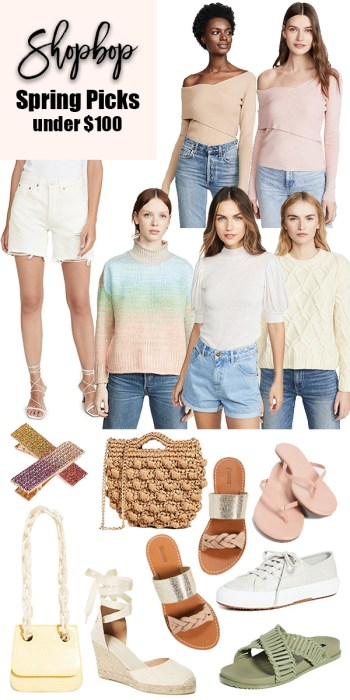 Shopbop spring 2020 under $100 finds! Head to the blog to shop these pieces perfect for springtime. #shopbop #spring20fashion #spring20 #womensfashion #womensclothing #shopboppicks