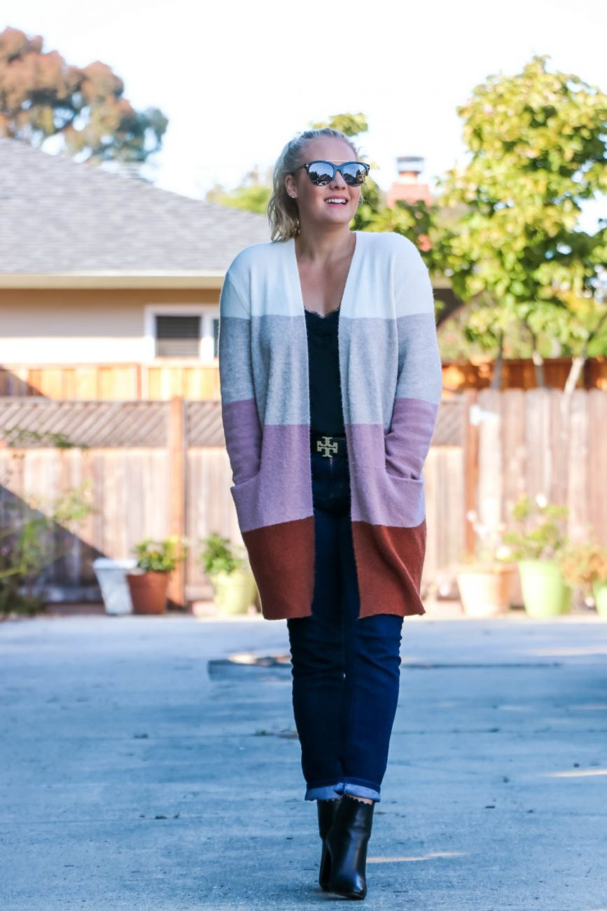 xSide by side comparison of this fall color block cardigan on Have Need Want! I found a dupe for the Madewell cardigan I love and so I had to compare. Click on over to the post to read the key differences. #madewellcardigan #fallstyle #falloutfit #amazonfashion