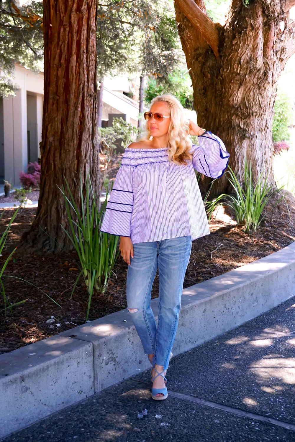 Striped Off-The-Shoulder Poplin Blouse-Parker New York-Summer Style-Outfit Inspiration-Have Need Want-Skinny Boyfriend Jeans-Espadrille Wedges 8