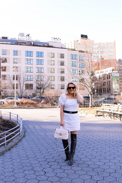 Styling Tips for Wearing a Cotton Minidress in Winter-Endless Rose Cotton Shirred Minidress. Wore this outfit during NYFW and got my look on Getty Images!! Click on the photo to read the full post and get all my top winter styling tips! #NYFW #StreetStyle #StylingTips #WinterStyle