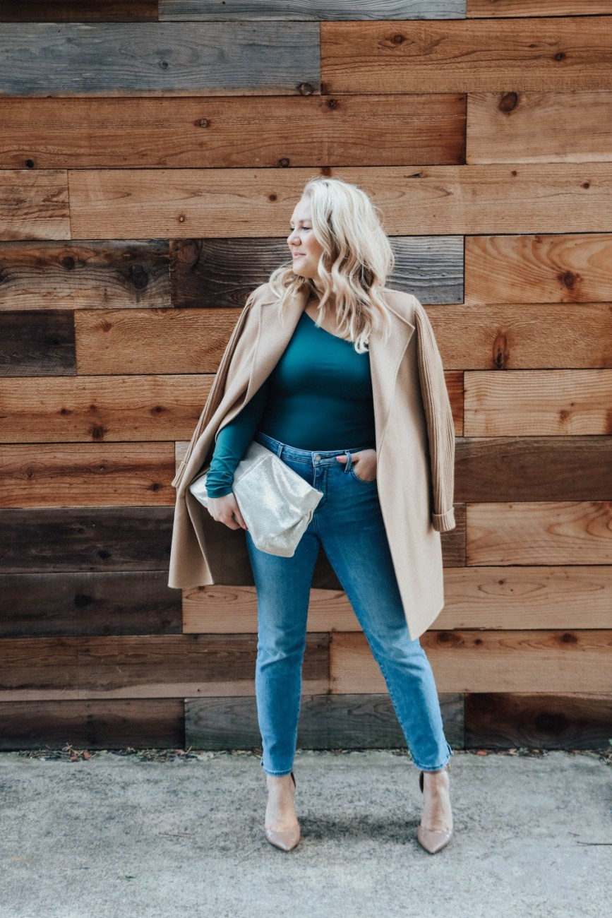 Sharing my tips on How to Style a long sleeve bodysuit from day to night on Have Need Want! This one is from Free People and is so comfortable. Click on over to the post to check it out! #longsleevebodysuit #bodysuitandjeans #freepeople #momoutfits #momstyle