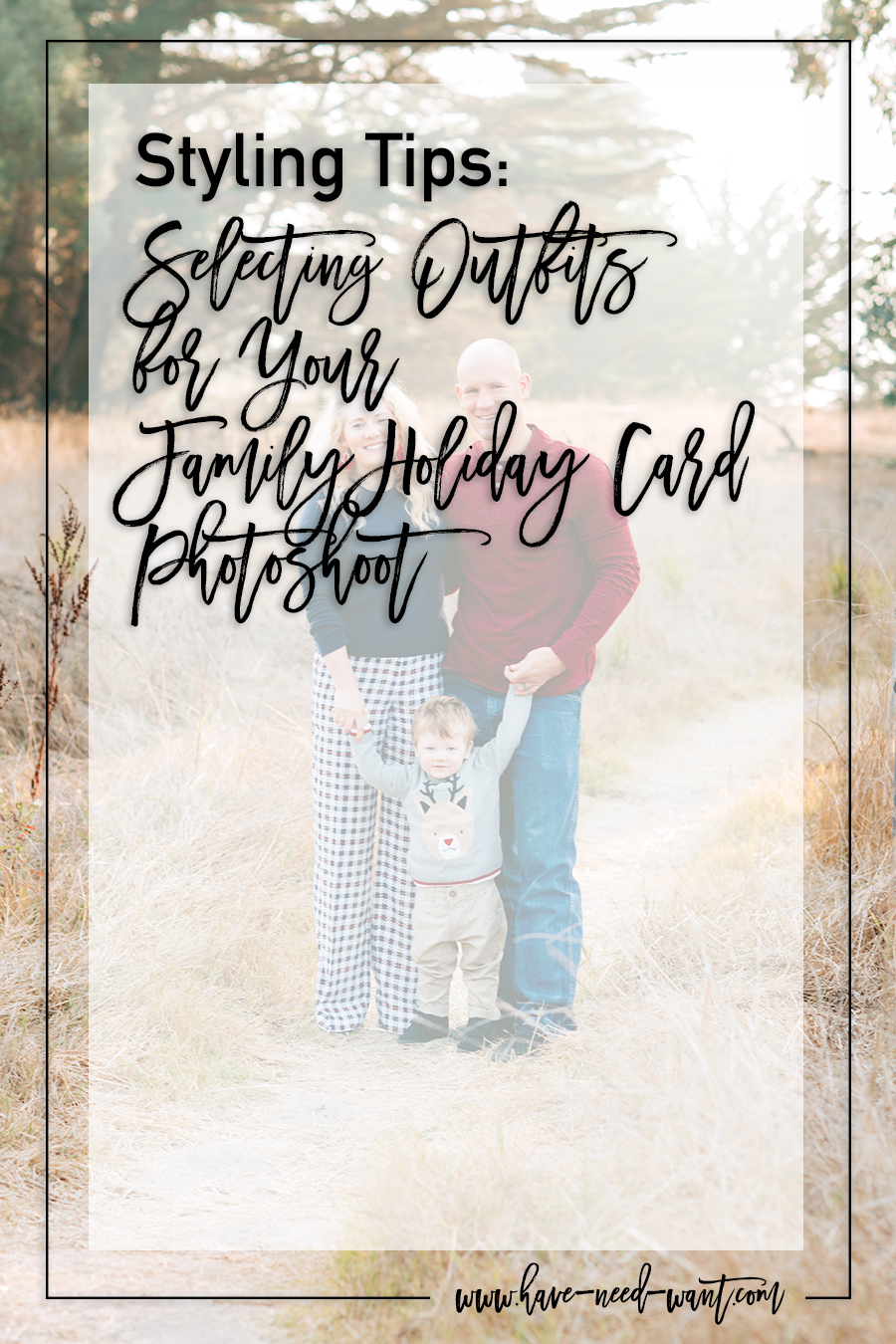 Family Holiday Card Outfits For Mom, Dad, and Son. Selecting coordinating outfits that will photograph well for your holiday cards - Have Need Want