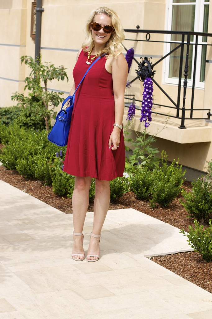Theory Dress Lizzie Fortunato Kate Spade Handbag Fashion Blogger 4th of July Style Red White and Blue Outfit Inspiration 6