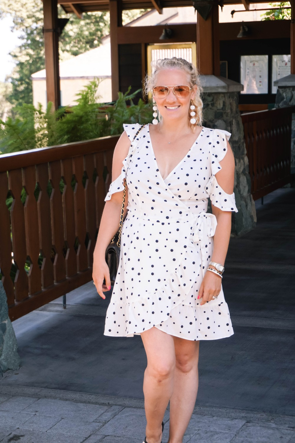 Three Ways to Wear Polka Dots-Polka Dot Outfits-Outfit Inspiration-Borrowed by Design-Polka Dot Wrap Dress-Faux Pearl Sandals-Have Need Want 10