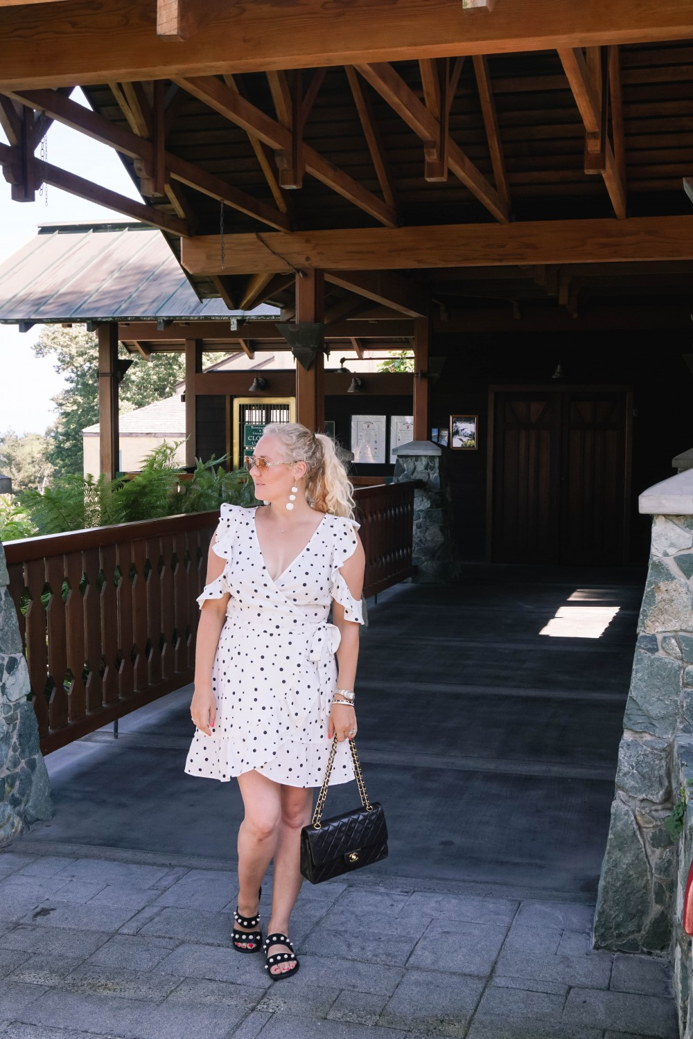 Three Ways to Wear Polka Dots-Polka Dot Outfits-Outfit Inspiration-Borrowed by Design-Polka Dot Wrap Dress-Faux Pearl Sandals-Have Need Want 8