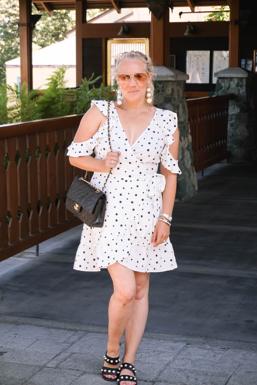 Three Ways to Wear Polka Dots-Polka Dot Outfits-Outfit Inspiration-Borrowed by Design-Polka Dot Wrap Dress-Faux Pearl Sandals-Have Need Want 9