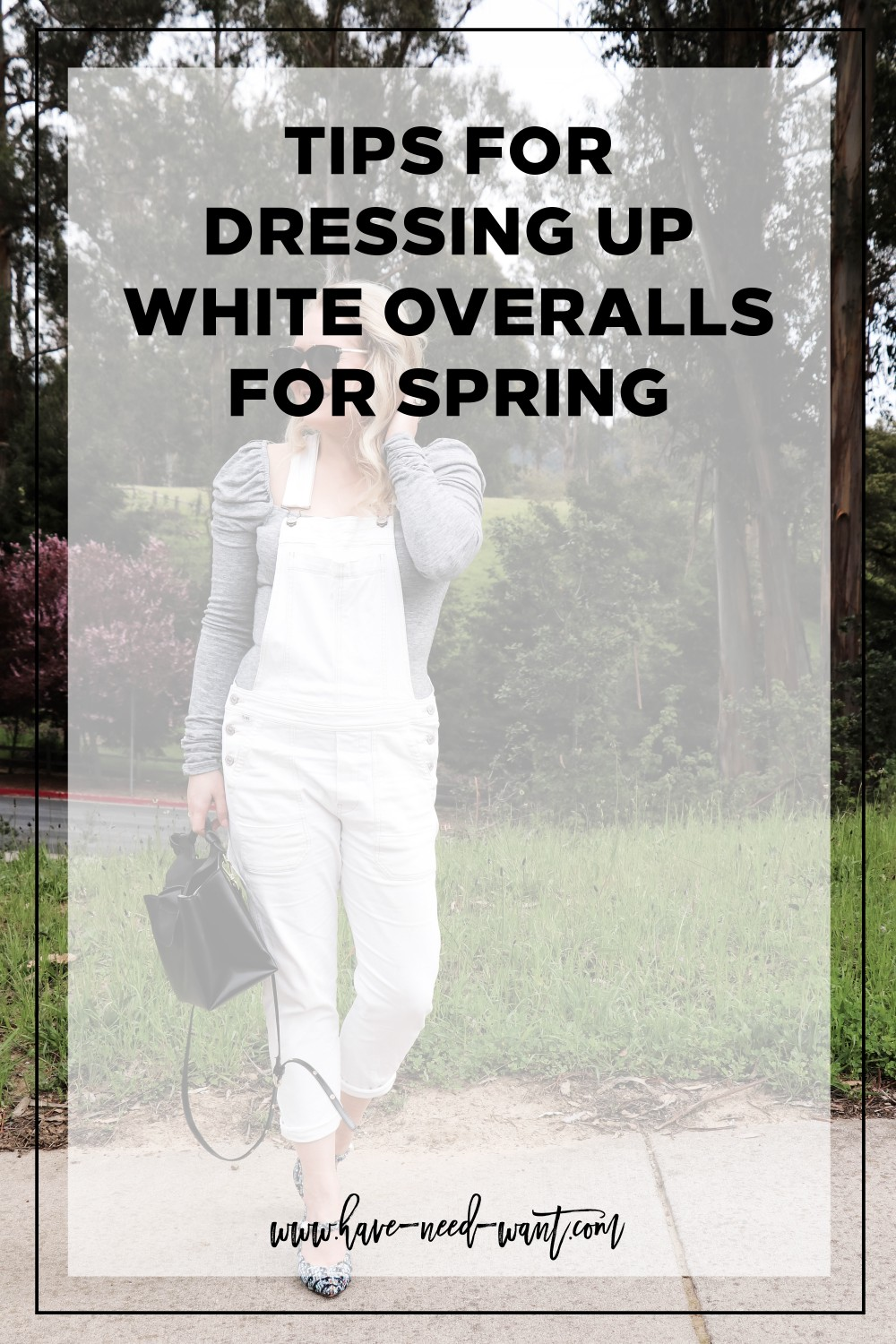 Sharing some styling tips for dressing up white overalls for Spring in todays post on Have Need Want! Click on the photo to read the post, get my tips, and product details for my outfit. #whiteoveralls #springstyle #outfitinspiration #stylingtips #whitedenimoveralls