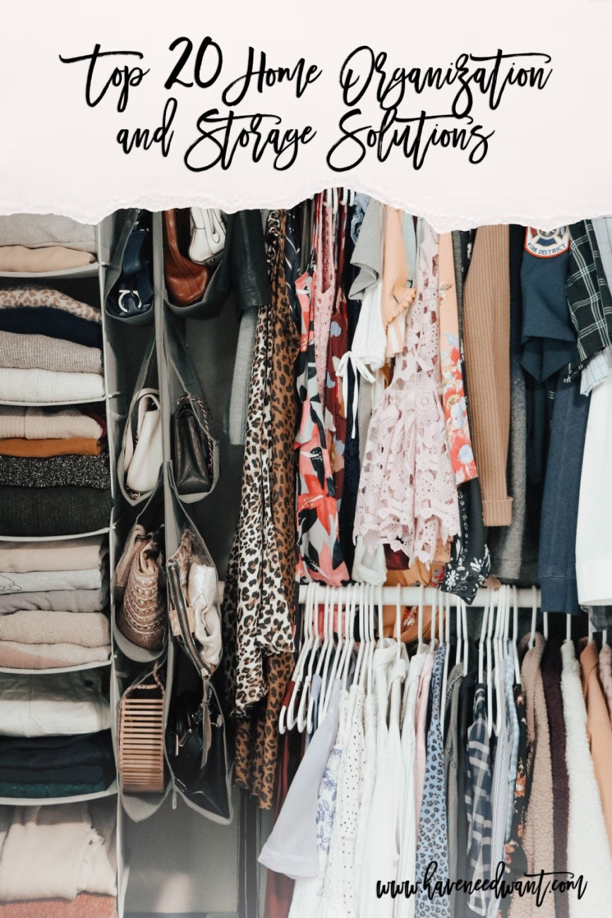 Top 20 home organization and storage solutions perfect for spring cleaning on the blog. Head to the post to check it out! #springcleaning #homeorganization #storagesolutions #homestorage #closetorganization