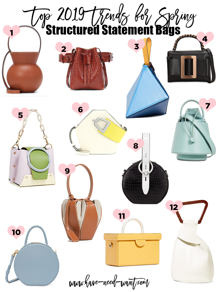 Structured statement bags are a Top 2019 Trends for Spring. Click on the photo to check out the post + get product details! #spring2019 #springtrends #fashiontrends #spring2019trends