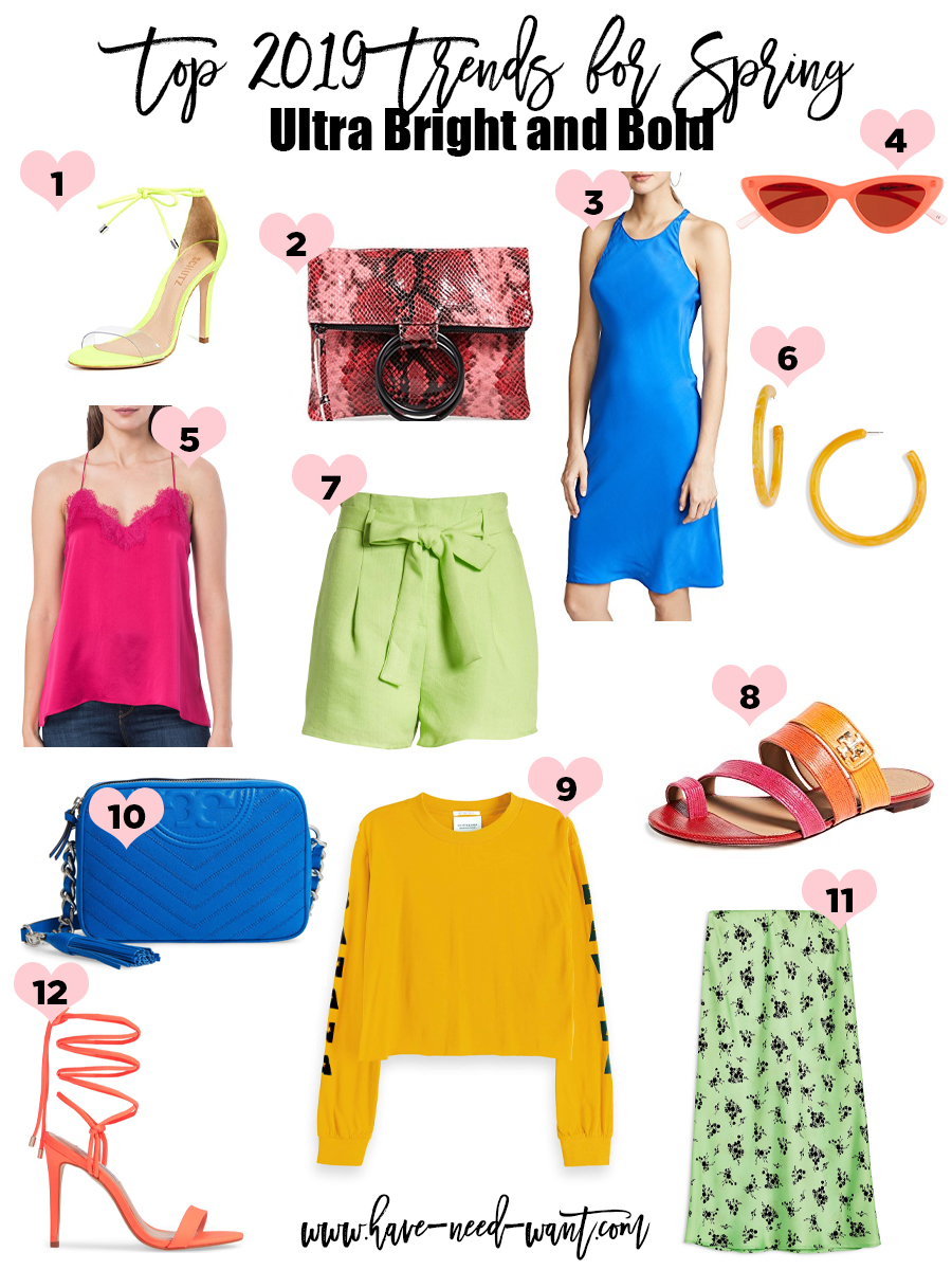 Ultra Bright and Bold is a Top 2019 Trends for Spring. Click on the photo to check out the post + get product details! #spring2019 #springtrends #fashiontrends #spring2019trends #brightboldcolors