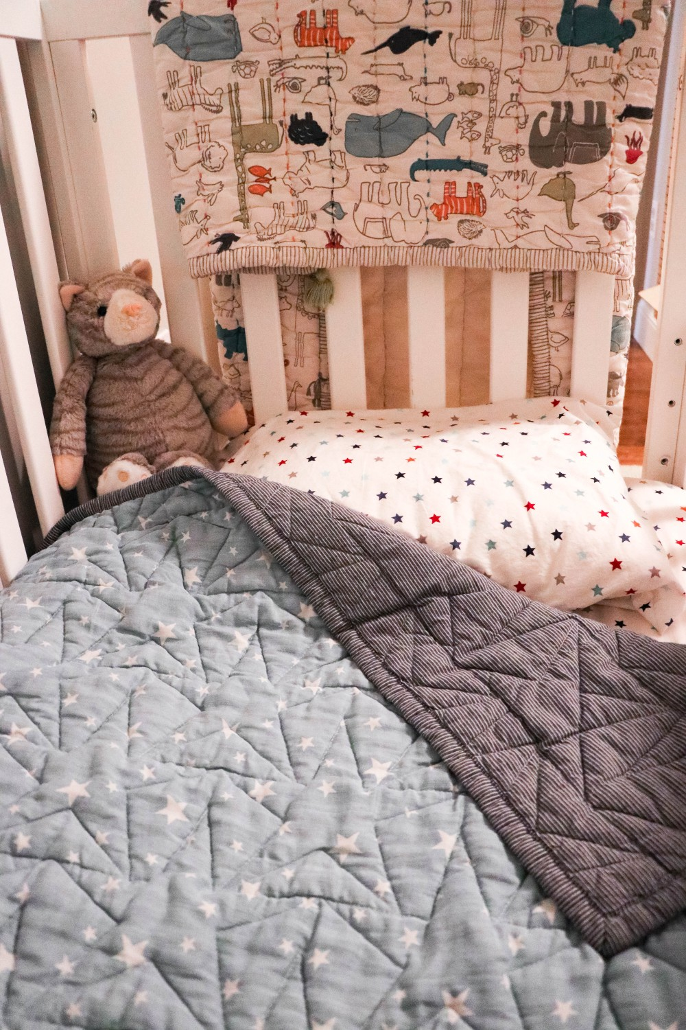 Sharing my tips for transitioning your toddler to a toddler bed as well as when we realized it was time to make the transition on Have Need Want! Click on the photo to check out the post! #toddlerbed #motherhood #momlife #convertiblecrib #davincicrib #toddlerroom #genderneutralroom #genderneutralnursery #toddlerboyroom