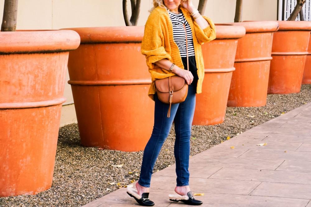 Yellow Chenille Cardigan