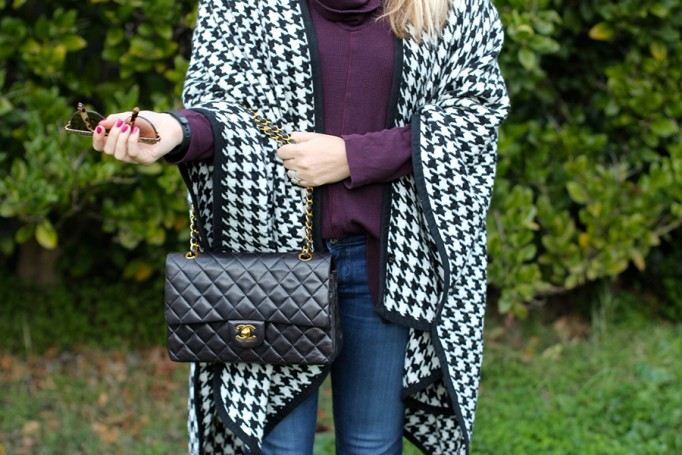 outfit inspiration-chanel handbag-kate spade-winter style-houndstooth ponch 2