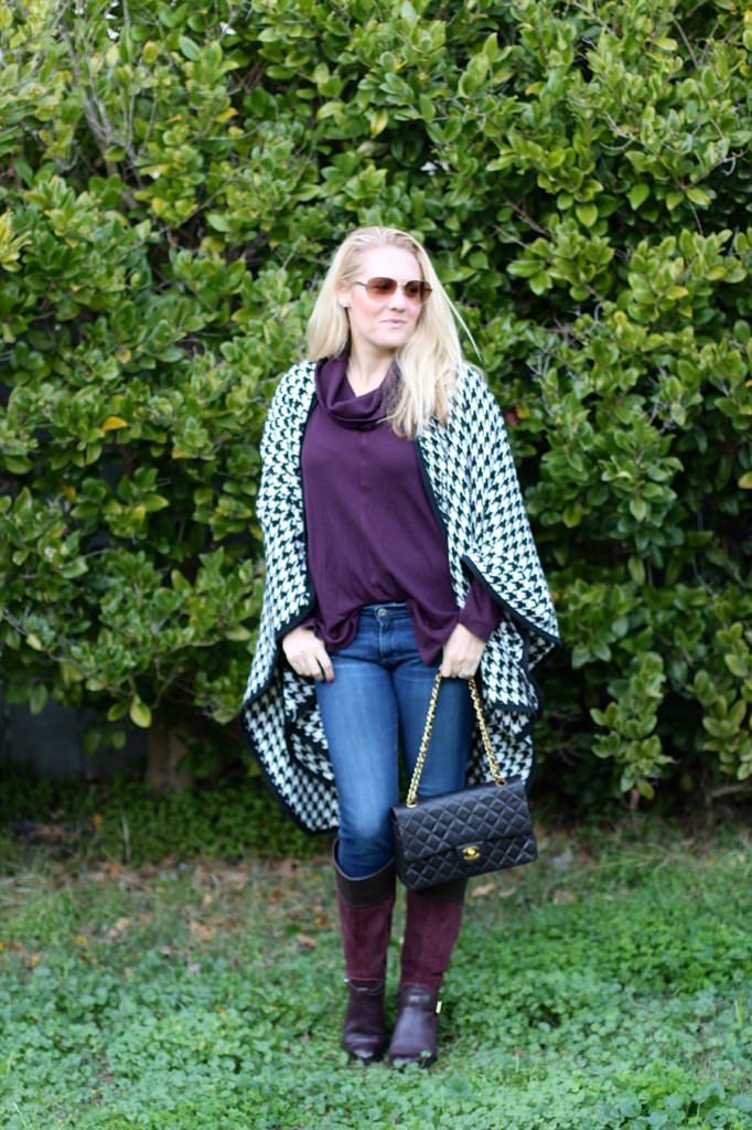 outfit inspiration-chanel handbag-kate spade-winter style-houndstooth ponch 3