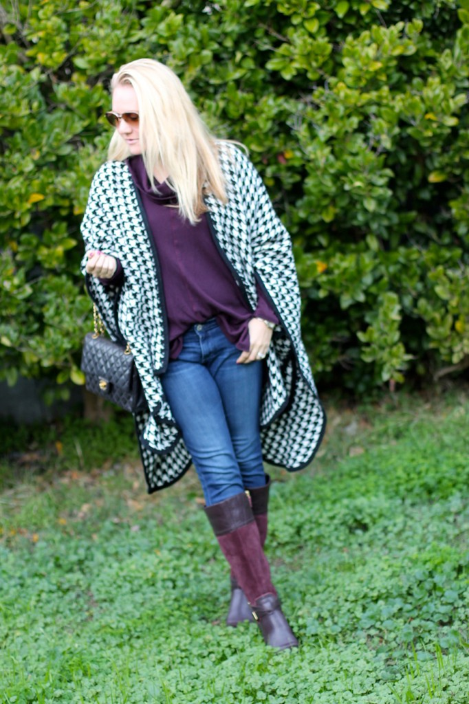 outfit inspiration-chanel handbag-kate spade-winter style-houndstooth ponch 8