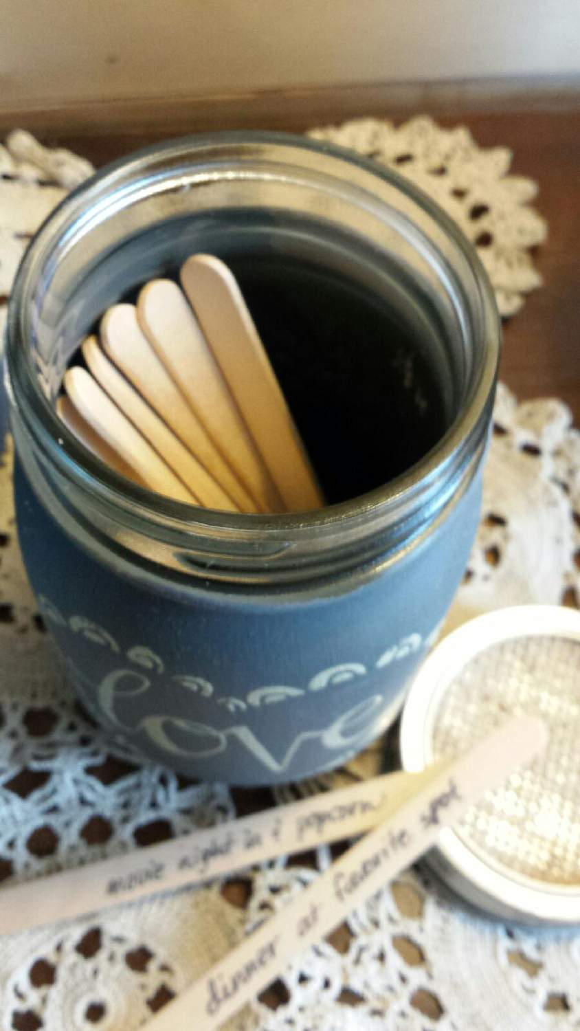 love mason jar craft sticks