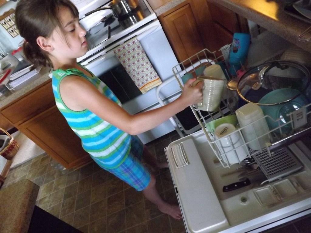 unloading dishwasher