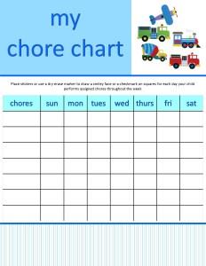 boy chore chart_boy transportation_blank chores