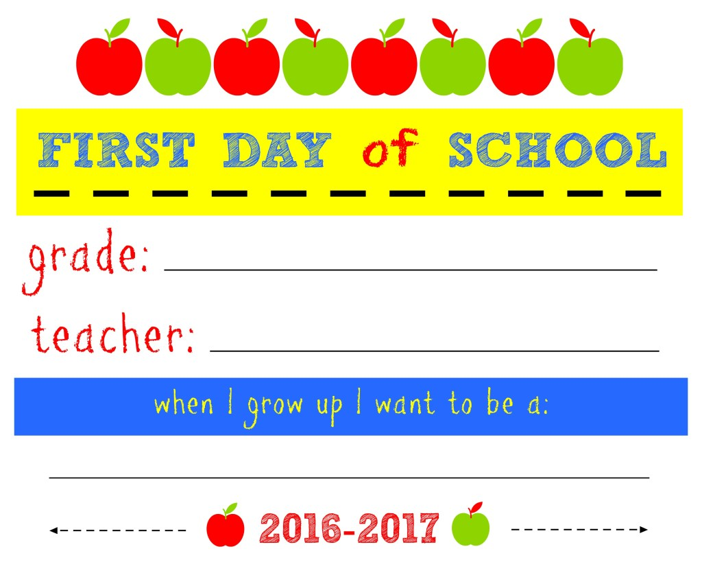 2016-17 First Day of School printable