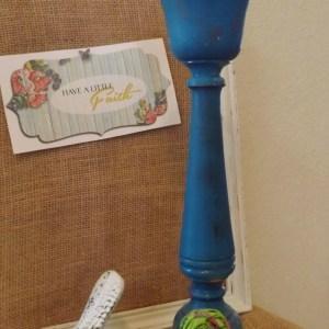 teal candle holder