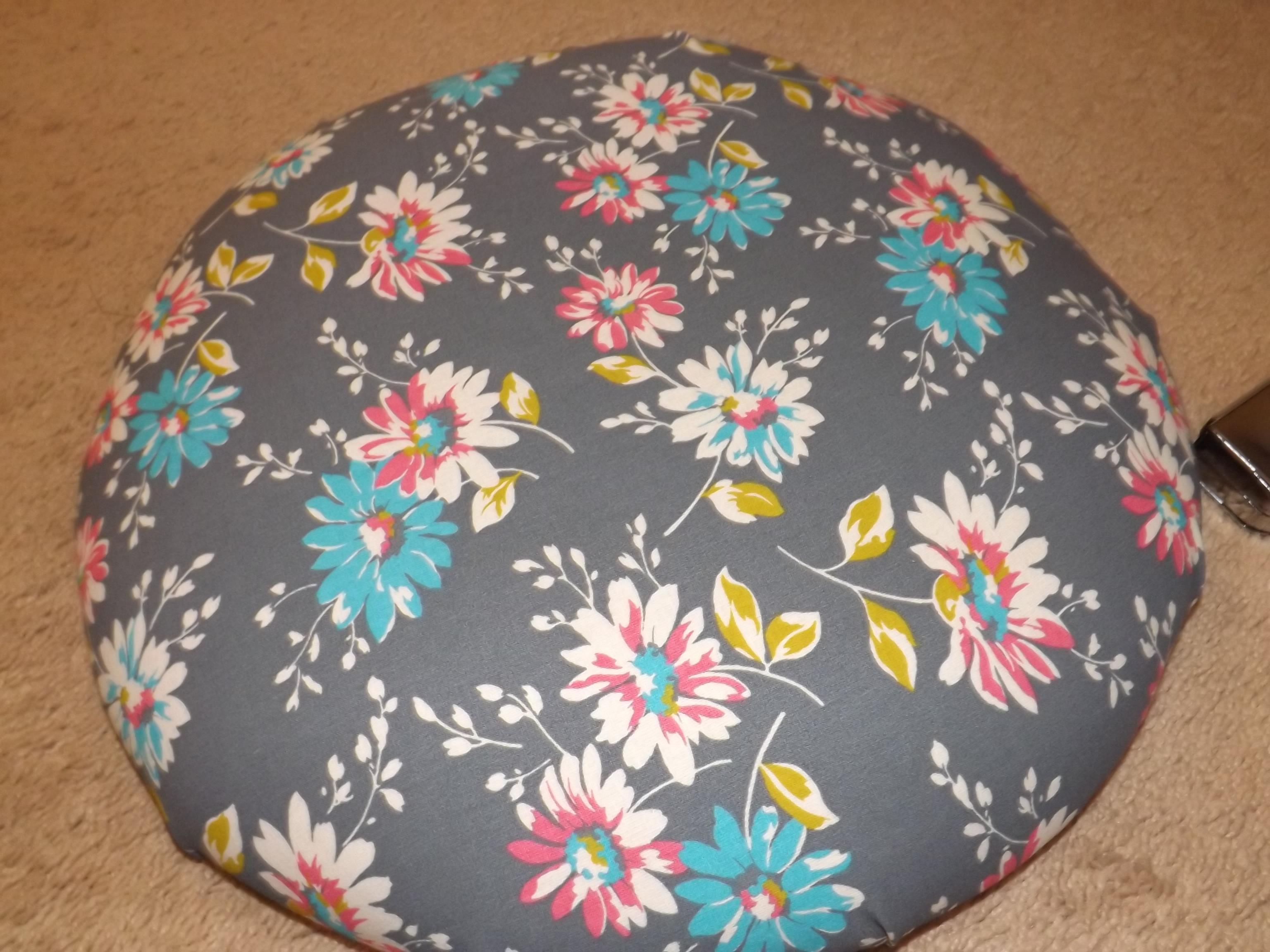 new fabric on cushion
