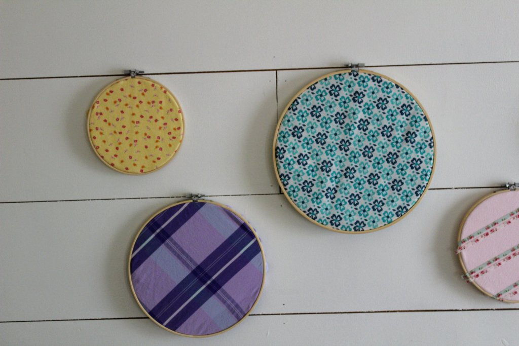 Upcycled Fabric Spring Hoop Art