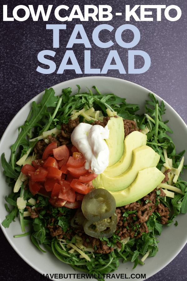 Keto taco salad is a perfect low carb dinner that is so quick and easy to make. Simply cook your ground meat and add to your favourite salad mix. #keto #lowcarb #tacosalad #ketosalad #mexican