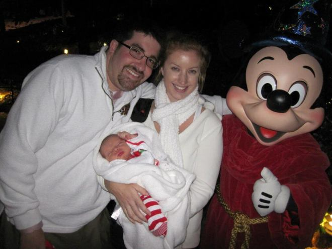 Character greetings with a toddler at Walt Disney World meeting Mickey