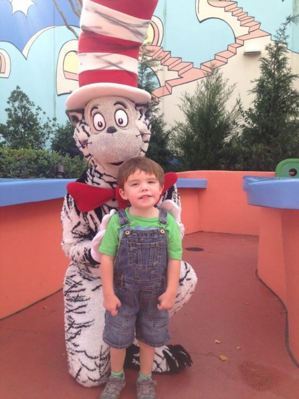 The Cat in the Hat at Universal Studios Orlando with a toddler