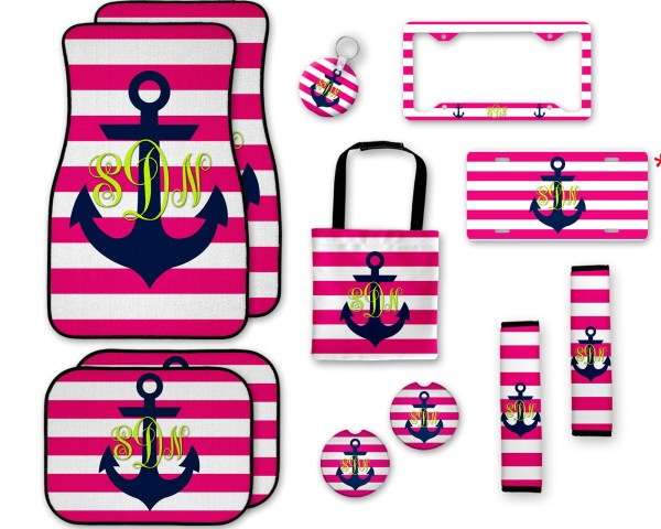 Anchor on Stripes Car Accessories