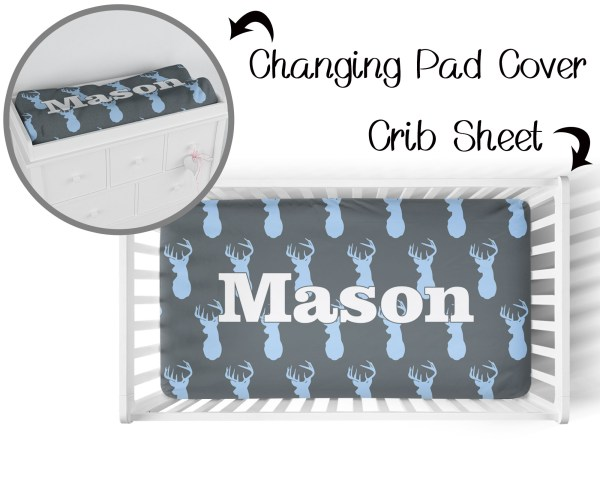 Deer Head Crib Sheet & Changing Pad Cover