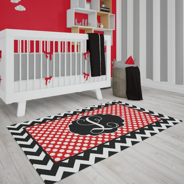 Dots & Chevron Black & Red Area Rug