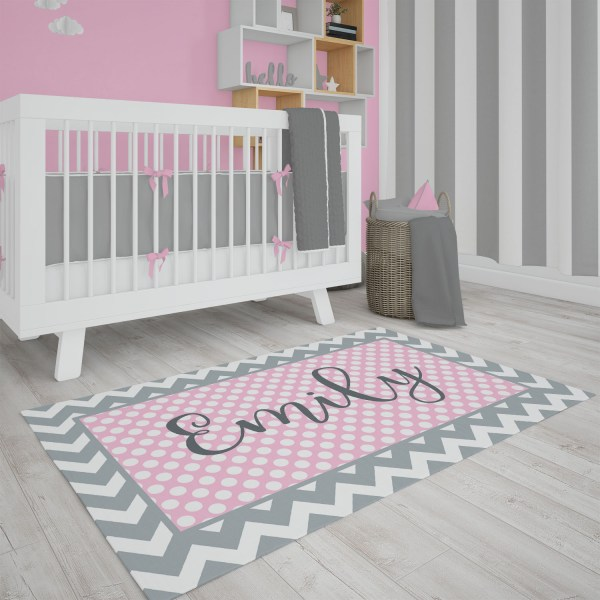 Dots & Chevron Pink & Gray Area Rug